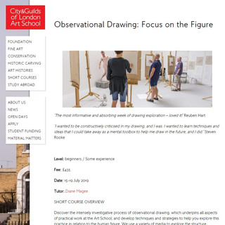 City and Guilds Summer School 2019   Observational Drawing:  Focus on the Figure   I will be working with the Diane Magee, Head of the C&G Drawing Studio, within this exciting course.
