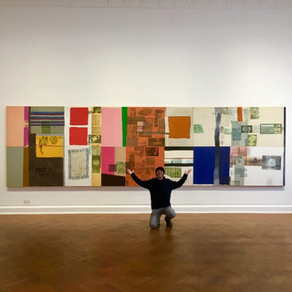 Gallerie Thaddaeus Ropac | 2019.  Kneeling in front of my favourite Rauschenberg collage:  'Palladian Xmas Spread' (1980).  Photo Credit, the kind Gallery Assistant in the gallery, I didn't catch his name.