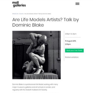 'Are life Models Artists' | Flyer from the Mall Galleries | 2019