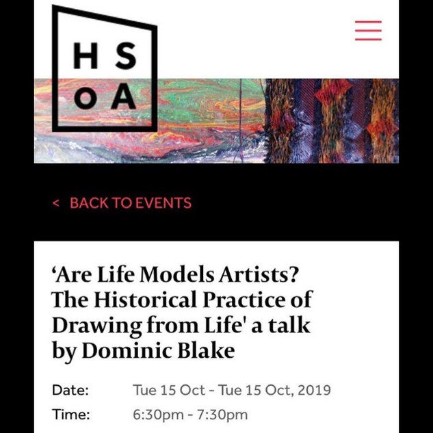 'Are Life Models Artists' | Flyer from Hampstead School of Art | 2019
