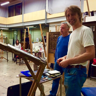 Francis Bowyer (left) with Rue (at his slanted easel, ready to try out his new watercolours).  Richmond Art School, October 2018.