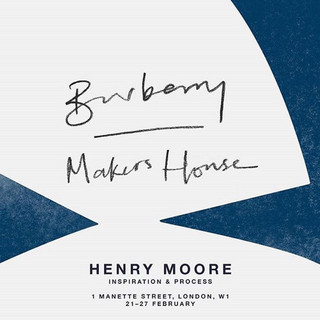Poster from a Henry Moore exhibiton I Life Modelled within, that was run in association with Burberry, and led by Mark Hampson, the Royal Academy's Head of Fine Art Processes.