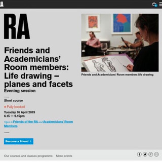 Royal Academy   Friends and Academicans' Room members Life Drawing - 'planes and facets', 16.04.19.