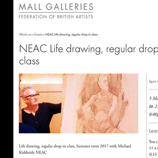 Mall Galleries, New English Art Club life drawing class, led by Michael Kirkbride (NEAC).  I regularly work in this session.