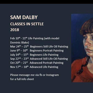 Sam Dalby (RP):  'Classes in Settle'.  I worked with Sam within his weekend Masterclass at his studio in North Yorkshire in 2018.