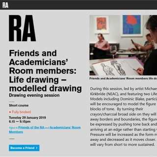 Royal Academy:  Friends and Academicians' Room members Life Drawing: 'Modelled Drawing', January 2019.