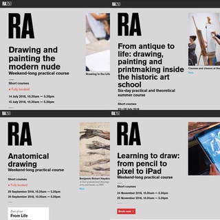 Some of the courses that I will be working within at the Royal Academy of Arts throughout 2018, curated by Mary Ealden, the RA's Academic Programmes Manager.