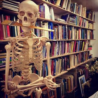 Friendly skeleton with paint brush, Hampstead School of Art, November 2018.