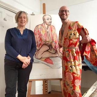 With Eileen Cooper (RA) in her studio, December 2018.