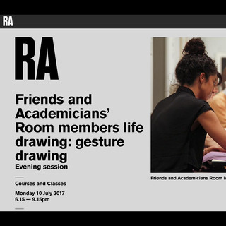 RA Friends and Academicians' Room members life drawing:  gesture drawing.  An evening of drawing, led by Michael Kirkbride (NEAC) within which I was one of the Life Models.  Curated by Mary Ealden, the RA's Academic Programmes Manager.