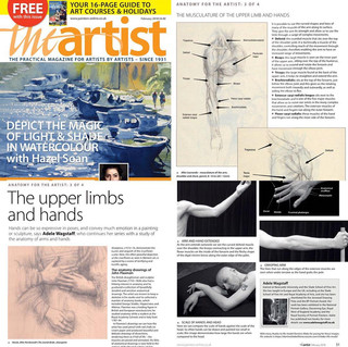 The Artist Magazine:  'The Upper hands and Limbs' (from an article by figurative artist Adele Wagstaff, in which I appear as her Life Model).