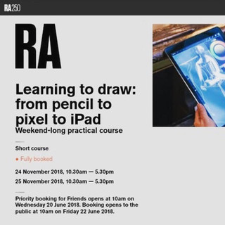 RA Drawing Course:  'Learning to draw from pencil to pixel', Royal Academy of Arts, November 2018