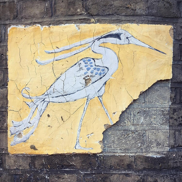 Heron on wall at City and Guilds Art School, January 2018.