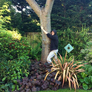 Hugging a tree in my back garden | 2016.  Photo Credit:  My Dad.