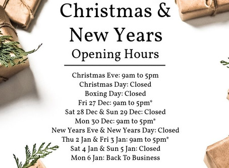 Opening hours over the festive period