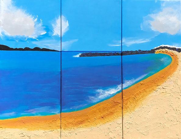 Carribean Ocean, Triptych, 30x70, mixed