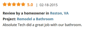 Review by a homeowner in Reston, VA Project: Remodel a Bathroom Absolute Tech did a great job with our bathroom.