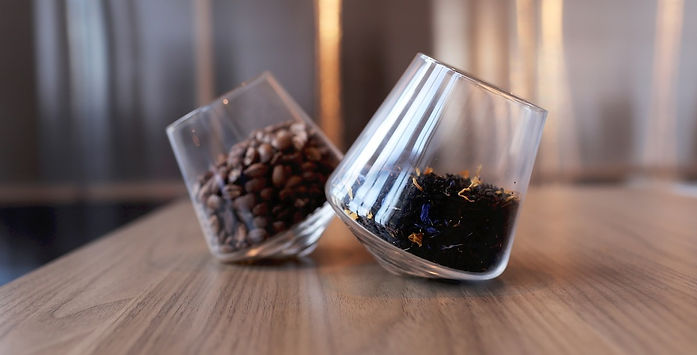 Coffee beans and tea leaves