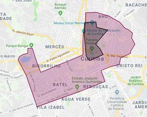 Em vermelho mostra a área de operação da empresa em Curitiba; em preto, área onde funciona o serviço de patinetes — Foto: Divulgação/Yellow