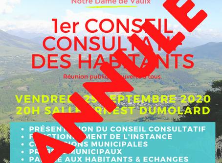 ANNULATION CONSEIL CONSULTATIF