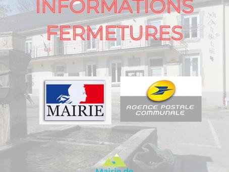 FERMETURE ESTIVALE Mairie & Agence postale