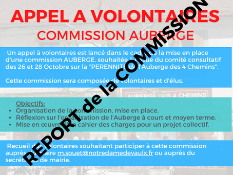 REPORT DE LA COMMISSION AUBERGE