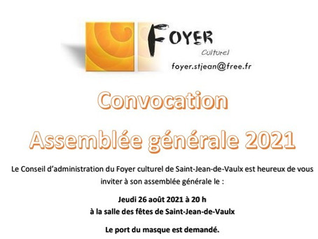 ANNULATION 26/08 ASSEMBLEE GENERALE: Foyer culturel de Saint-Jean-de-Vaulx