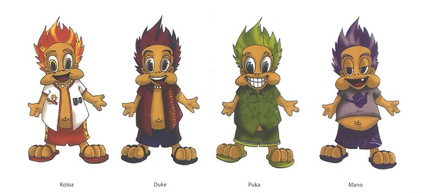 Hawaiian Baseball Mascots Drawing