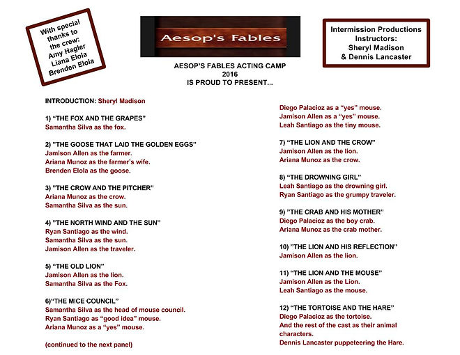 Aesop's Fables Acting Camp 2016 Program