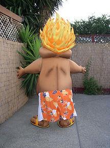Hawaiian Baseball Mascot Back View