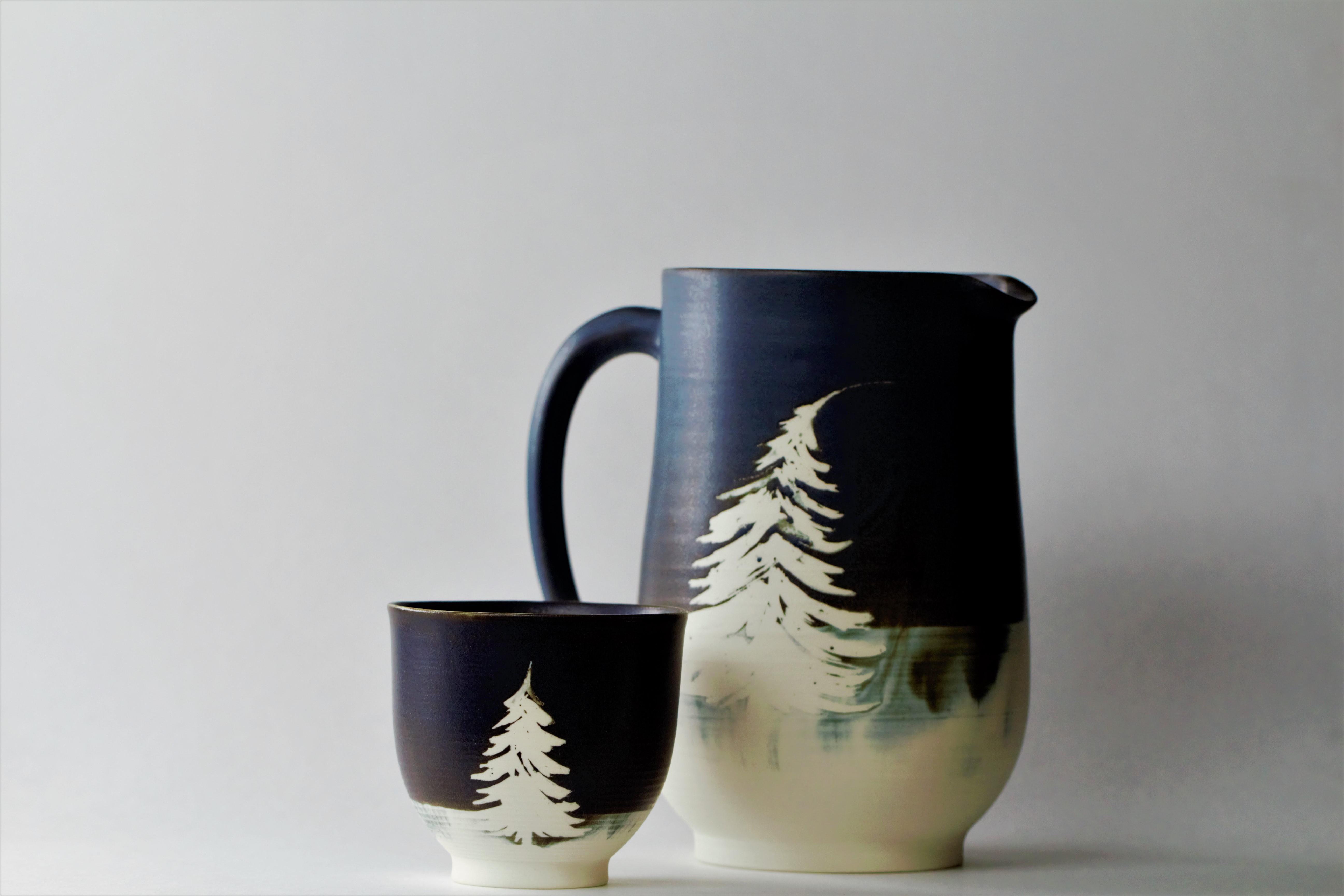 Pichet et bol à thé boréaux