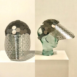 Silver Tiled Visor Face Shield Mask