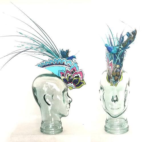 Bejeweled Bedazzled Blue Peacock Headdress Mohawk Fascinator Hat