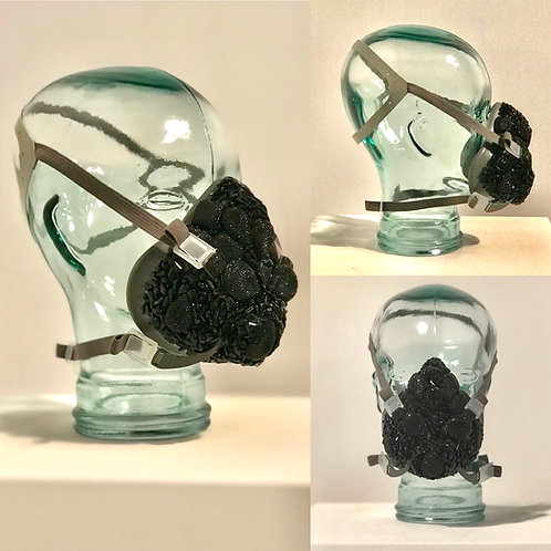 Fashion Bejeweled Bedazzled Black Dust Mask Respirator