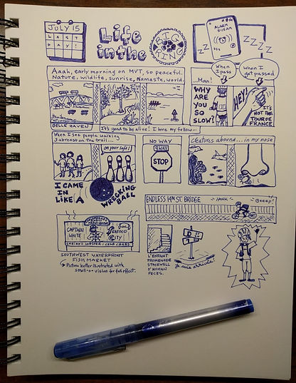 Last summer, I biked to work (a bit, not everyday) and documented my commute during a class I was taking at work (I was paying attention... I  just needed to keep busy during the downtimes).