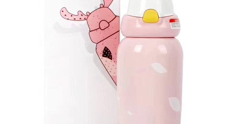 兒童麋鹿保溫瓶 可愛粉