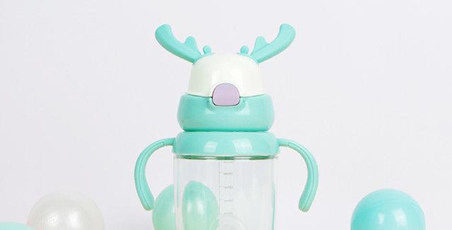 兒童麋鹿涼水杯 粉綠色