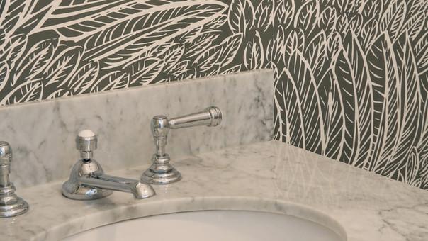 modern farmhouse powder room marble vani