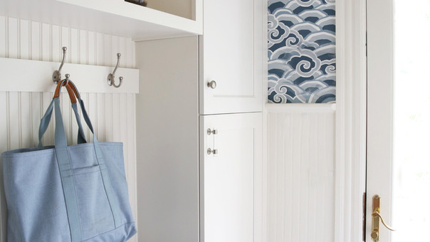 modern farmhouse mudroom with wallpaper