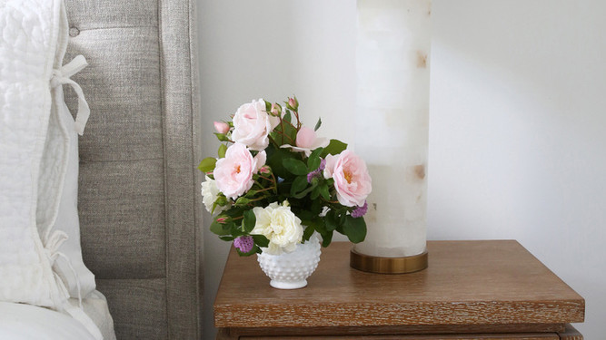 STYLED BEDSIDE TABLE WITH ALABASTER LAMP