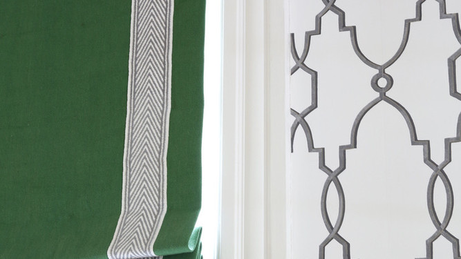 MODERN ROMAN SHADE WITH TAPE DETAIL