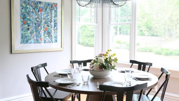 modern farmhouse eat in kitchen round ta