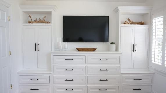 transitional master bedroom built-in dre