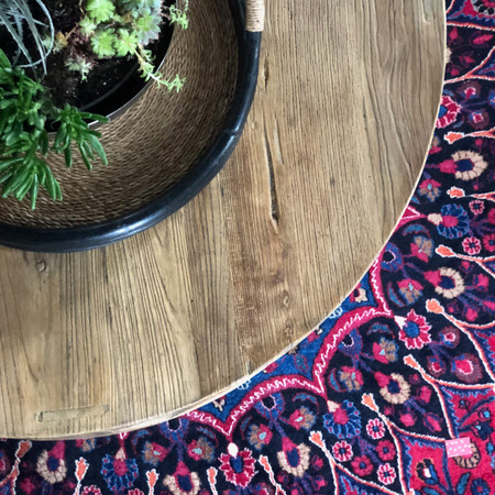 Vintage rug with succulents