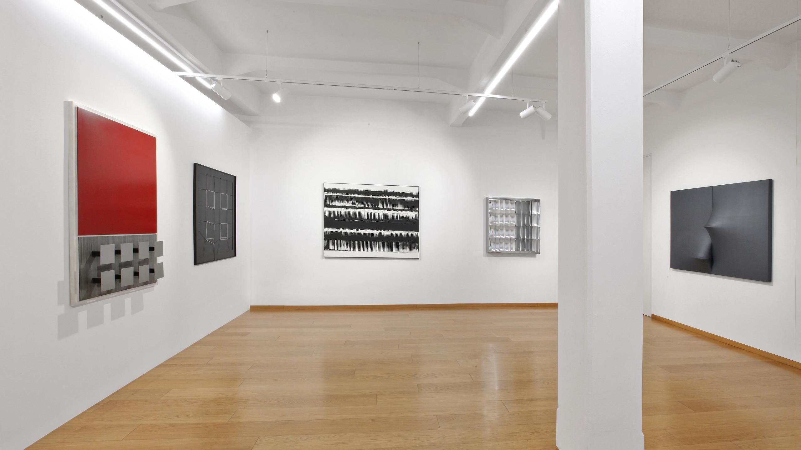 "Installation views, ""Walter Leblanc and the European Neo-avant-garde"", Cortesi Gallery Milan Photo by Bruno Bani. Courtesy Cortesi Gallery London, Milan, Lugano"