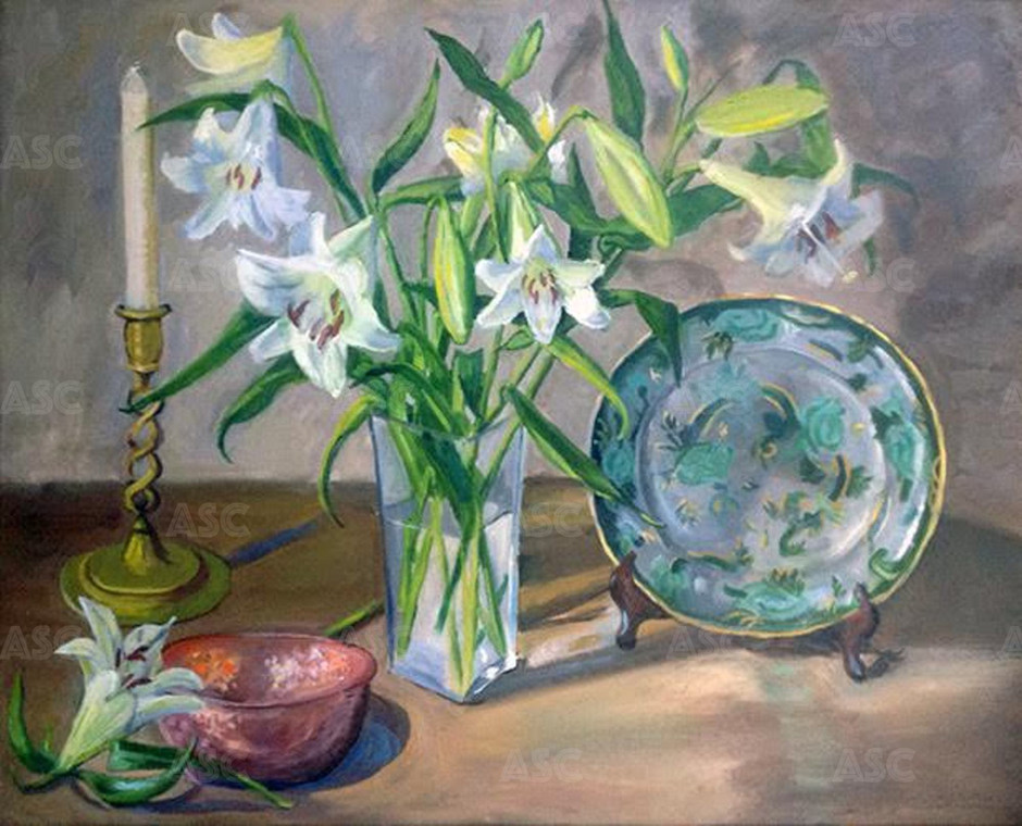 Lilies with Spode Plate