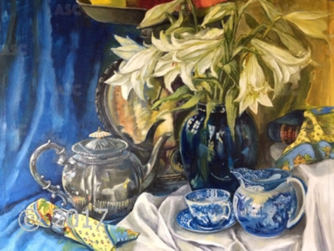 Lillies in a Blue Vase