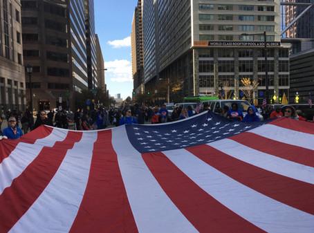 Carrying the flag in the Philadelphia Veterans' Parade.