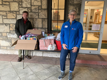 Chapter donations are delivered to Methodist Services before the holiday season.