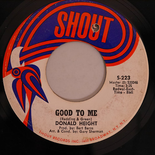 DONALD HEIGHT / GOOD TO ME / BONA FIDE LOVER